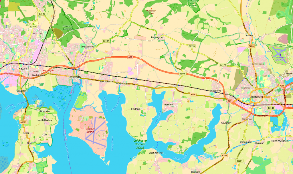 Map Showing Emsworth and Chichester